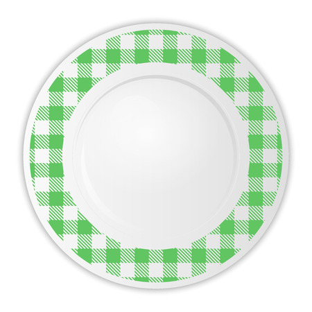 gingham pattern: Vector illustration of plate with green gingham pattern Illustration