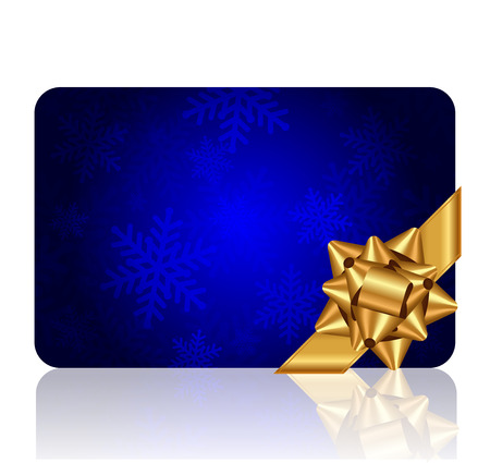 gold bow: Vector blue background with snowflake pattern and gold bow