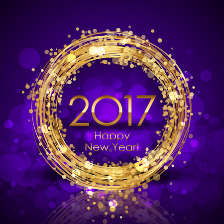 greetings card: Vector 2017 Happy New Year purple glowing background