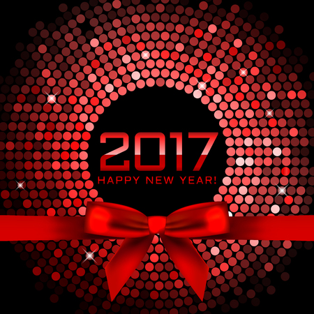 sequins: Vector 2017 background with red disco lights and ribbon