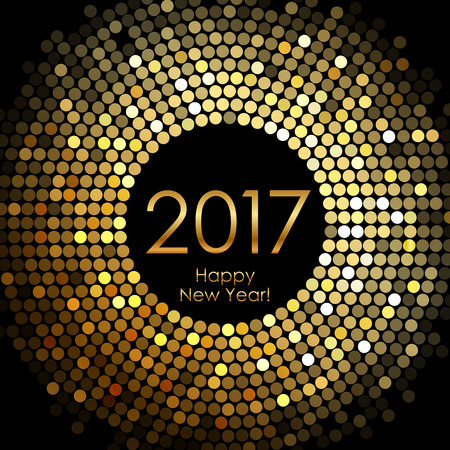 glowing: Vector - Happy New Year 2017 - gold disco lights frame