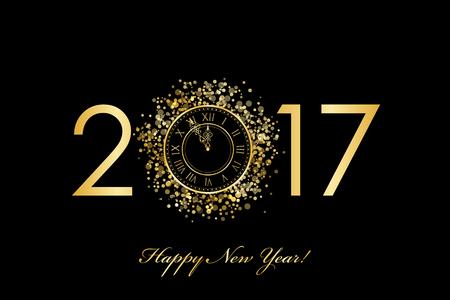 Vector 2017 Frohes Neues Jahr Hintergrund mit Gold Uhr Standard-Bild - 64828470