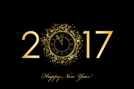 happy new year card: Vector 2017 Happy New Year background with gold clock Illustration