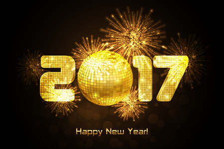 golden ball: Vector - Happy New Year 2017 - gold disco lights frame