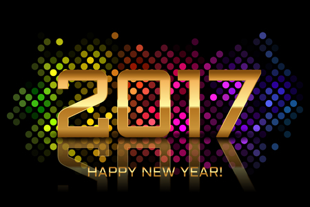 disco lights: Vector - Happy New Year 2017 - colorful disco lights frame