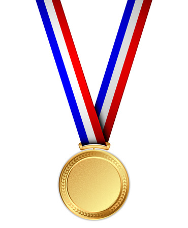 Vector illustration of gold medal with ribbon