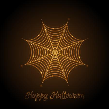 Vector illustration of glowing cobweb
