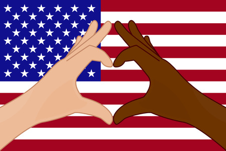 Vector illustration of USA flag and hands making a heart shape