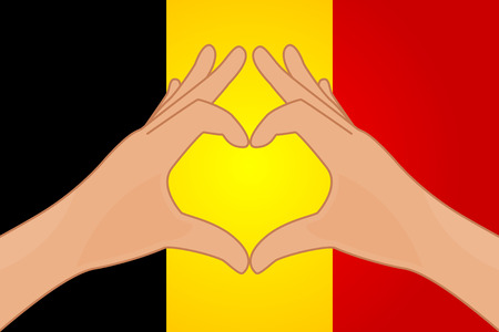 Vector illustration of Germany flag and hands making a heart shape