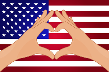 independent day: Vector illustration of USA flag and hands making a heart shape