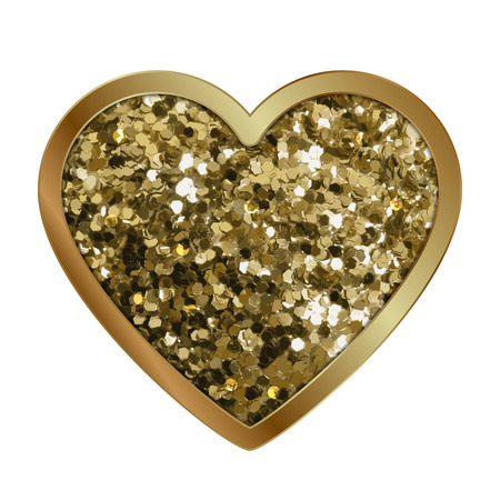 shiny heart: Vector illustration of gold shiny heart with diamonds Illustration
