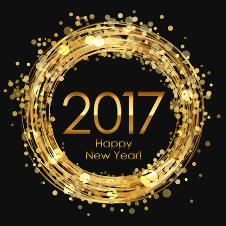 Vector 2017 Happy New Year glowing background  イラスト・ベクター素材