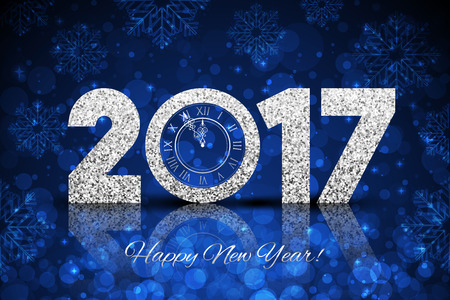 midnight: Vector 2017 Happy New Year background with silver clock Illustration