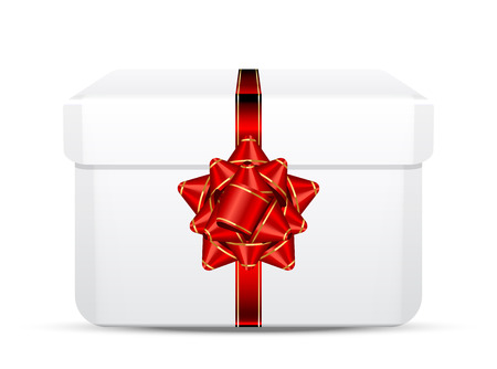 red gift box: Vector gift box with red bow Illustration