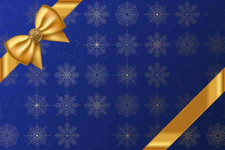 gold bow: Vector blue background with snowflakes pattern and gold bow