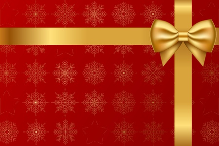 gold bow: Vector red background with snowflakes pattern and gold bow