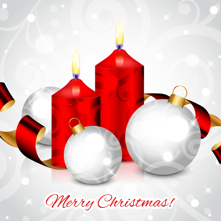 Vector Merry Christmas background with red candles and decorations