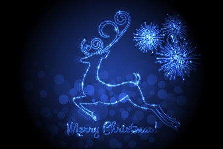 Vector Merry Christmas card with glowing deer and firework
