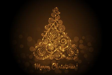 Vector glowing christmas tree Ilustração
