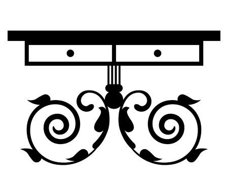 Vector illustration of vintage table