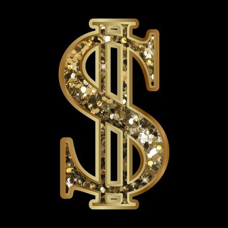 Vector illustration of shiny dollar sign Illustration