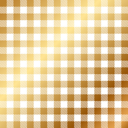 Vector gold and white gingham seamless pattern