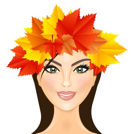Vector illustration of woman with wreath of autumn leaves Ilustração
