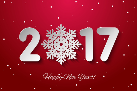 cuttings: Vector Happy New Year 2017 background with paper cuttings