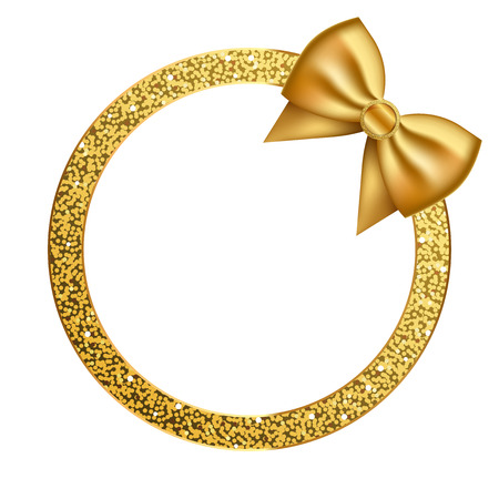 Vector shiny frame with gold glitter and bow