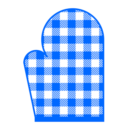 americana: Vector illustration of blue kitchen glove with gingham pattern Illustration