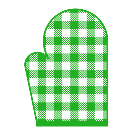 Vector illustration of green kitchen glove with gingham pattern