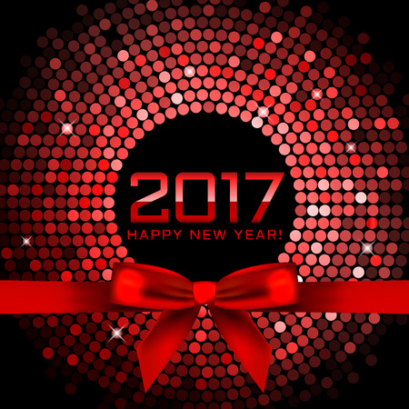 Vector 2017 background with red disco lights and ribbon