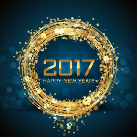 Vector 2017 Happy New Year glowing background Ilustração