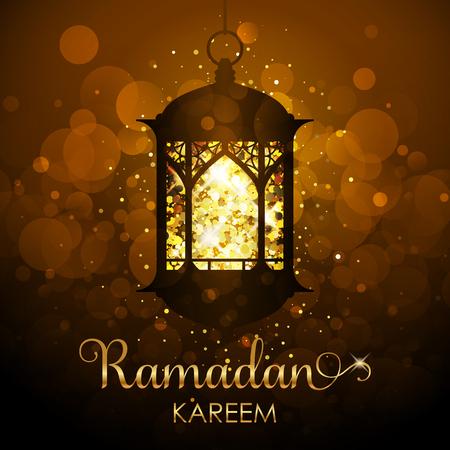 Vector Ramadan Kareem background - festive card with glowing lantern and gold glitter.