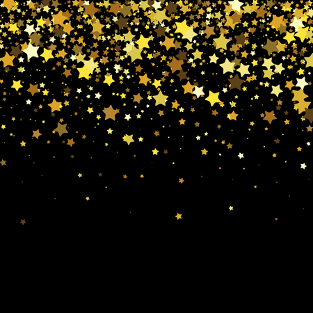 Vector black background with gold stars. Illustration
