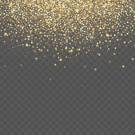 A Vector gold glitter background. Star dust sparks transparent background. Ilustração