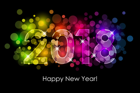 Vector - 2018 Happy New Year colorful background