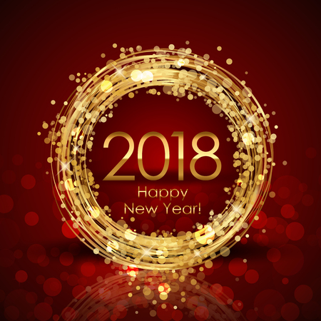 Vector 2018 Happy New Year red and gold background Ilustração