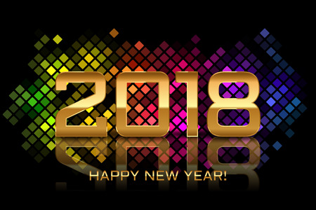 Vector - Happy New Year 2018 - colorful disco lights frame.