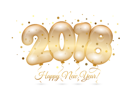 Vector 2018 Happy New Year card with gold confetti and balloons. Illustration
