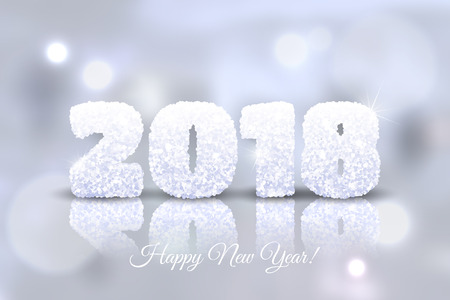 Vector 2018 Happy New Year festive background. New Year card with snowy numbers