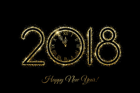 Vector Happy New Year 2018 - New Year background with gold clock and gold glitter on black background