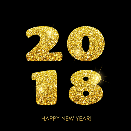 Happy New Year 2018. Vector New Year background with gold glitter