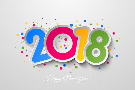 Vector 2018 Happy New Year background with colorful  confetti. Illustration