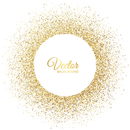 Vector gold sparkles on white background. Gold glitter circle. Frame with glitter for logo, icon, vip card, certificate, gift voucher Ilustração