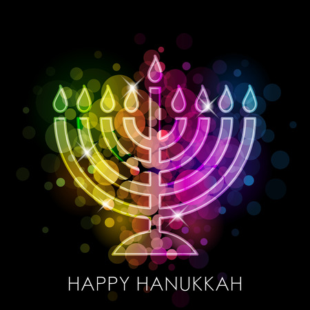 Vector Happy Hanukkah colorful card