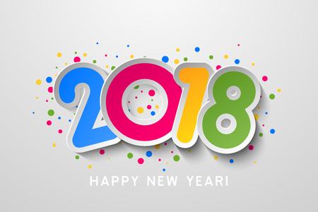 Colorful 2018 Happy New Year Ilustração