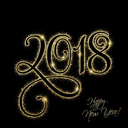 ゴールドのキラキラと幸せな新年 2018  イラスト・ベクター素材