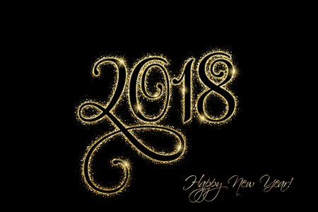Happy New Year 2018 in gold glitter