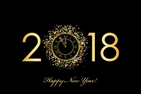 2018 Frohes neues Jahr mit goldener Uhr